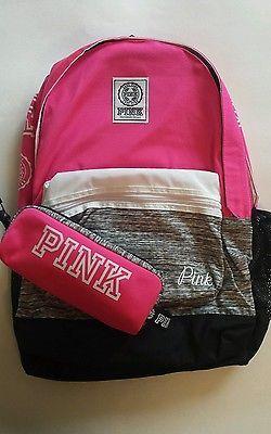 Victorias Secret PINK Campus Backpack Bookbag & Mini Pouch Case Victoria's 2pc