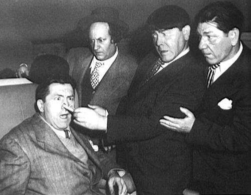 "All four original ""Three Stooges""--Moe Howard, Shemp Howard, Curly Howard and Larry Fine."