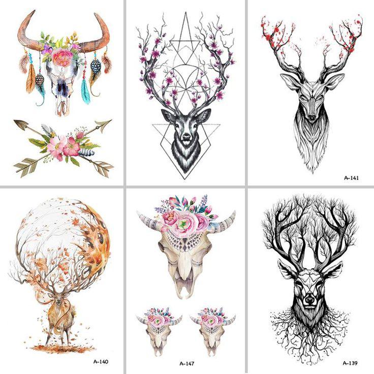 Wyuen Hot Designs Deer Temporary Tattoo For Women Tattoo Body Art 9.8X – Satyr…