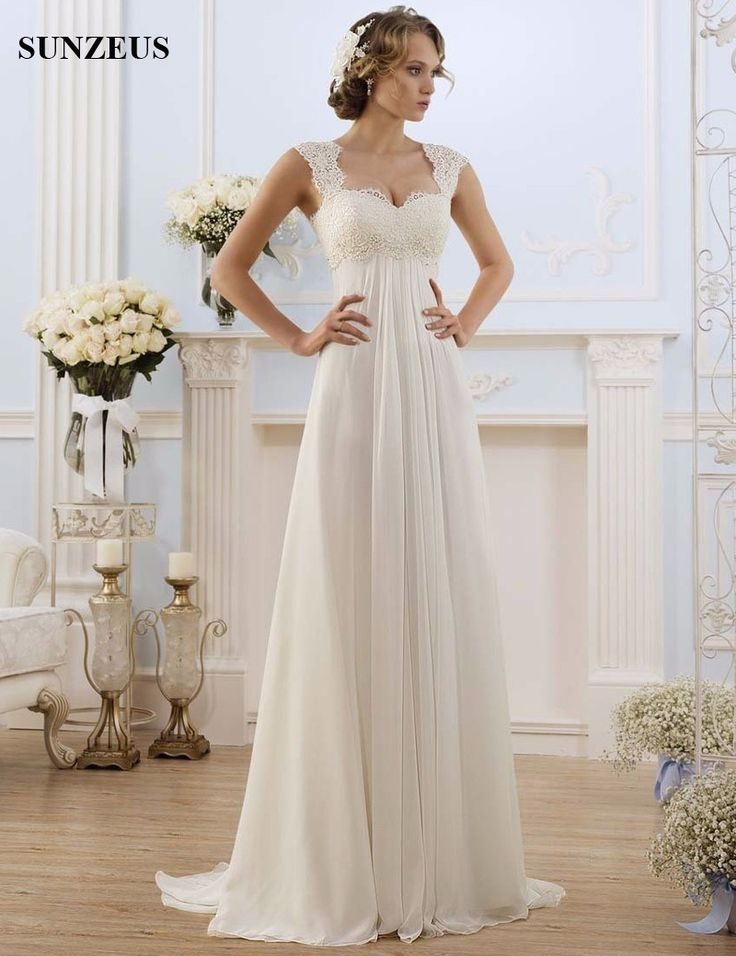 Find More Wedding Dresses Information about Empire Waist A Line Lace Wedding Dresses Sweep Train Open Back Chiffon Beach Bridal Dress for Women Vestidos De Novia 2017 S977,High Quality dress shoes for men,China dress pooh Suppliers, Cheap dress designs for ladies from Suzhou Sanjula Dresses Store on Aliexpress.com