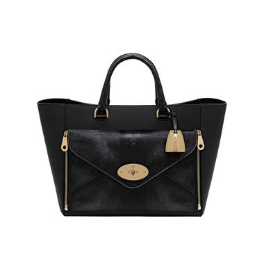 Mulberry - Willow Tote in Black Mixed Exotic