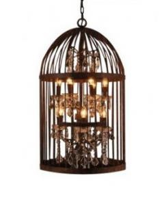 Bronze Finish Twelve Light Birdcage Ceiling Lamp