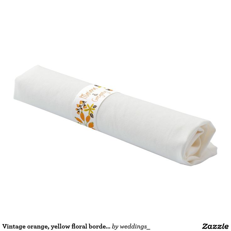 Vintage orange and yellow floral border #wedding #napkinband