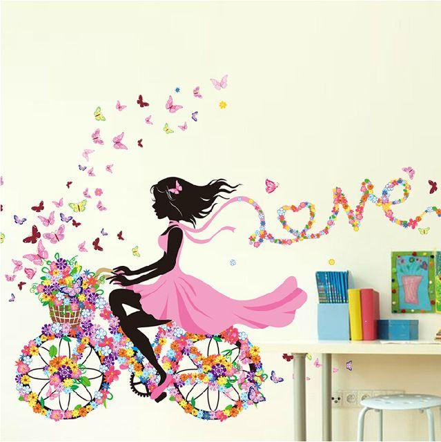 DIY Wall Stickers home decor Pink Princess Cycling Girl wall sticker girl Bedroom Living Room Decor Background decoracion hogar