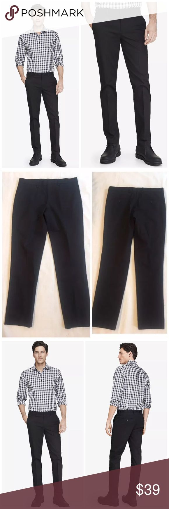 "Express Skinny Innovator Cotton Stretch Dress Pant EXPRESS Skinny Innovator Black Stretch Cotton Pants $70 retail new without tag, inner label marked, perfect condition  Inspired by the style of the ultimate jet setter, the Innovator is detailed with extra-slim tailoring in stretch cotton, so the guy at the center of everything is ready for anything. Skinny fit, sits below waist, slim leg hand and back pockets  Cotton/Lycra® spandex Size 33: waist flat 18"", inseam 30"", leg opening 14""…"