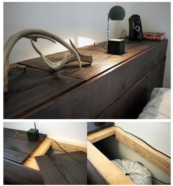 Weekend project how to build a rustic headboard with for Diy hidden storage