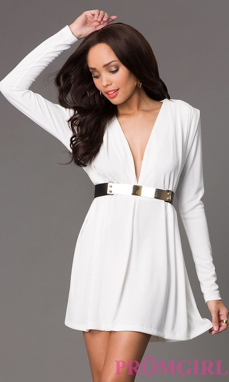 Atria 8000 asymmetrical cutout sleeve cocktail dress by atria 1 1 - Short Long Sleeve Dress With Plunging Neckline