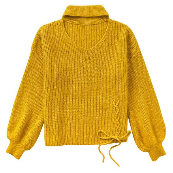 Yellow Puff Sleeve Knitted Jumper With Choker Detail (205 PEN) ❤ liked on Polyvore featuring tops and sweaters