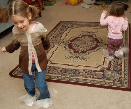 Try indoor ice skating on a cold day you're stuck in the house.  Use sheets of wax paper tied on with rubber bands, and find some carpet.  It is slippery so be careful