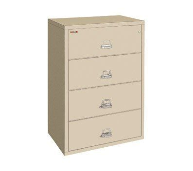 "FireKing Four-Drawer Fireproof Lateral File Cabinet, 31-3/16inch W x 52-3/4inch H, Dock-to-Dock by FireKing. $2999.99. Holds letter and legal size documents. High-security key lock ISO 9001 quality standard. Fireproof insulation is 100% gypsum, reinforced by 1"" x 2"" lattice made of 14-gauge, galvanized, we. Drawers accommodate standard or hanging files. UL 1-hour fire protection with impact rating. FireKing Lateral files provide your important records with the protec..."