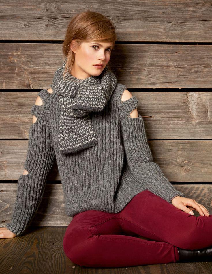 Lana Grossa RAGLANTRUI IN PATENTPATROON MET MOUWSPLITTEN 100% Cashmere Fine - FILATI No. 52 (Herbst/Winter 2016/17) - Model 16   FILATI-shop Lana Grossa-Store.nl