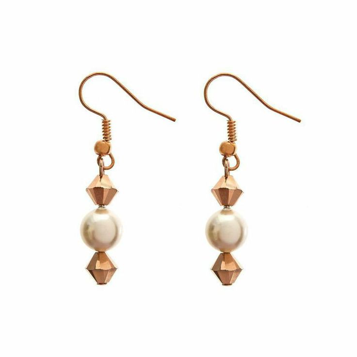 Rose gold earrings bridesmaid gifts bridemaids by LHGDesigns