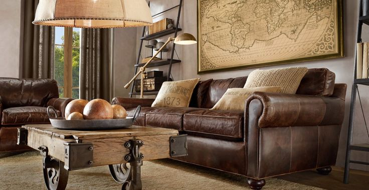 Framed vintage maps: Restoration Hardware, Leather Couch, Decoration, Maps, Living Rooms Idea, Brown Leather Sofa, Grey Wall, Coff Tables, Industrial Design