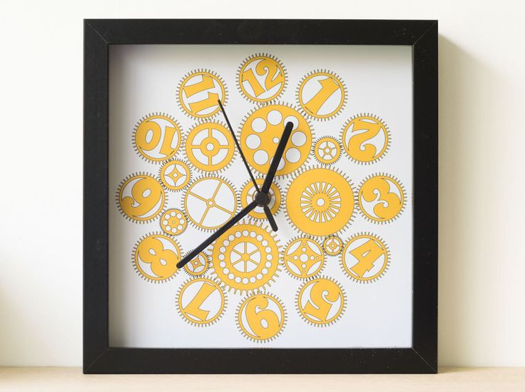 Yellow Cogs Clock, Yellow Clock, Yellow Modern Clock, Yellow Unusual Clock, Quiet Clock, Wall Clock Yellow, Black Frame Clock by DazzlingDandelion on Etsy https://www.etsy.com/uk/listing/278683470/yellow-cogs-clock-yellow-clock-yellow