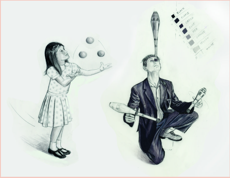 """Carolyn Dee Flores - Pencil Drawing Study for THE CIRCUS - """"Juggling"""""""