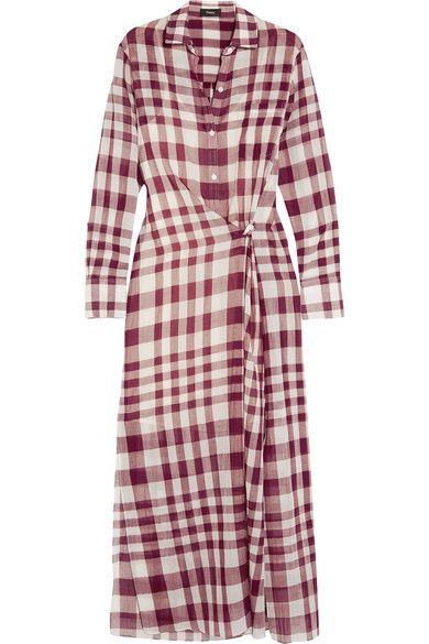 Theory - Jinniefield Wrap-effect Plaid Cotton Shirt Dress - Red
