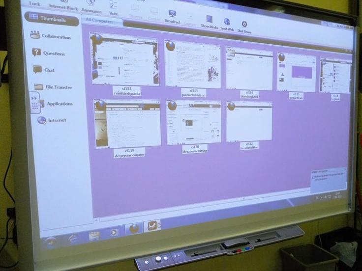 SMART Sync Software. De leerkracht kan de bureaubladen van de verschillende leerlingen inkijken en ingrijpen of begeleiding aanbieden waar nodig.