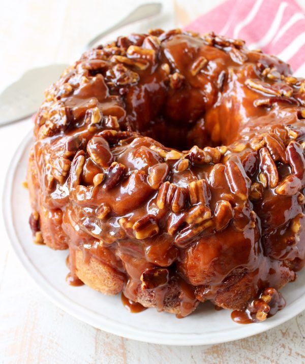Salted caramel and pecans are added to this easy Monkey Bread Recipe that makes the most decadent, melt-in-your-mouth breakfast or brunch!