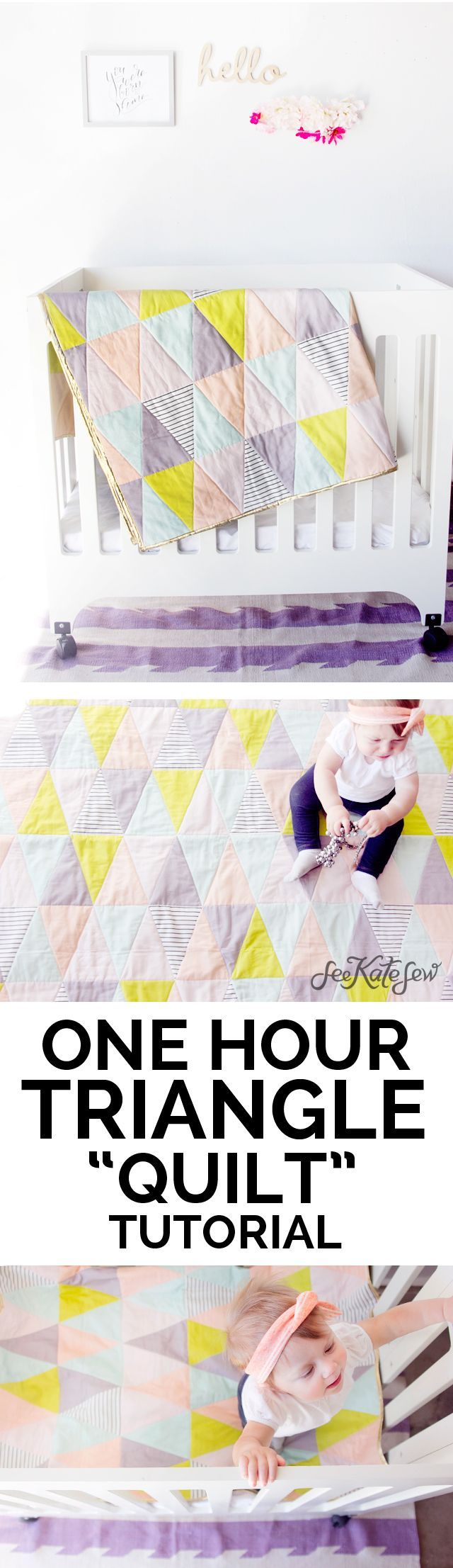 ONE HOUR triangle quilt tutorial   baby quilt tutorial   diy baby quilt   diy triangle quilt   quick sewing tutorial   sewing tips and tricks   easy sewing patterns   free sewing patterns    See Kate Sew #trianglequilt #sewingtips #sewingforbeginners