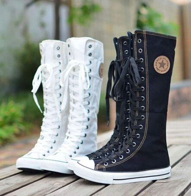 Good price hot sale fashion women Canvas Boots Knee High Shoes lady motorcycle boots,size 35-43 White/Black 5A105 just only $16.74 - 20.34 with free shipping worldwide  #womenshoes Plese click on picture to see our special price for you