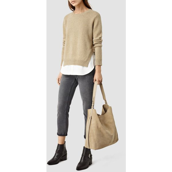AllSaints Paradise North South Tote ($298) ❤ liked on Polyvore featuring bags, handbags, tote bags, sand, man tote bag, allsaints, tote handbags, handbags totes and man bag