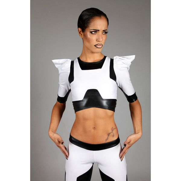 Stormtrooper Crop Top Star Wars Spandex Clothing Futuristic Sci Fi... ($450) ❤ liked on Polyvore featuring tops, blablabla, grey, t-shirts, women's clothing, lycra top, wet look top, spandex tops, stretch crop top and three quarter sleeve crop top