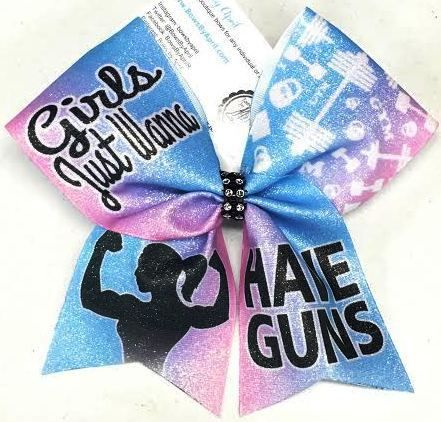 Bows by April - Girls Just Wanna Have Guns Muscle Girl Sublimated Cheer Bow, $15.00 (http://www.bowsbyapril.com/girls-just-wanna-have-guns-muscle-girl-sublimated-cheer-bow/)