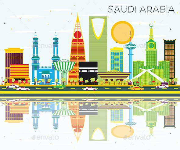 Saudi Arabia Skyline With Color Landmarks And Reflections Islamic Calligraphy Painting National Day Saudi Saudi Arabia