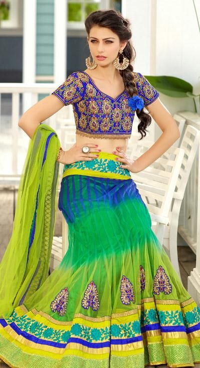 USD 141.06 Green Net Resham Work Lehenga Choli 28477
