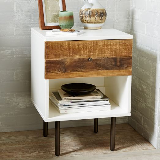 Reclaimed Wood + Lacquer Nightstand   West Elm