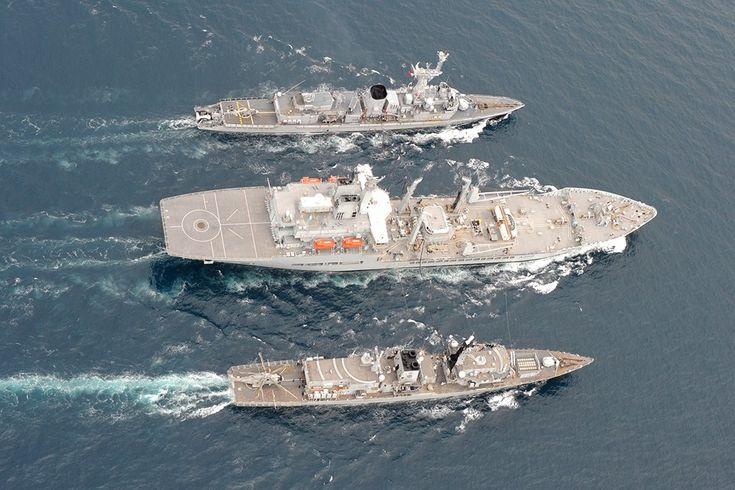 """Royal Navy - """"RFA WAVE KNIGHT"""" a Wave Class Fast Fleet Tanker,  Conducts a Dual Replenishment-at-Sea During the Anti-Submarine Exercise """"Deep Blue"""" with French Navy's """"FS La MOTTE PICQUET"""" (D645) a F70 Type Frigate and """"HMS WESTMINSTER"""" (F237) a Duke Class Type 23 Frigate (Image MoD/ Crown Copyright)"""