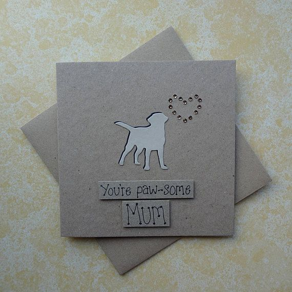 Handmade Yellow Labrador Retriever (or Golden Retriever) Mothers Day card - dogs silhouette and gem heart card for Mum / Mom.  The card has a silhouette of a Golden Labrador (Golden Lab) standing happily with their tail in the air. The shadow of the dog is black card and there are gold round gems in the shape of a heart just above the dog. The sentiment is added with 3D foam and reads: I Labr-adore you Mum  PERSONALISING YOUR CARD: You can choose the colour of the gems used to make the h...