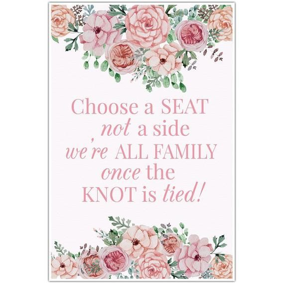 Watercolor Flowers Wedding Choose a Seat Not a Side Sign Poster