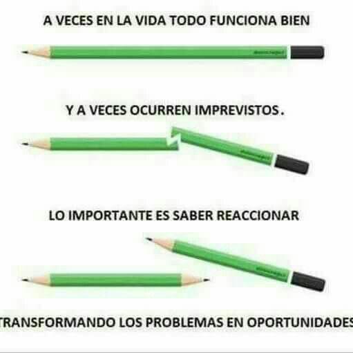 A veces en la vida todo funciona bien, pero a veces hay que transformar los problemas en oportunidad. Frases de inspiración, éxito y motivación. Nunca te des por vencida.