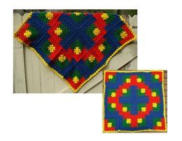 Playtime Baby Blanket – PB-106 – A crochet pattern from Nancy Brown-Designer. For a bold, bright splash of color for the babies' room, crochet this blanket in not-so-traditional granny squares. This pattern PDF can be purchased at my LoveCrochet Pattern Store for $3.99, just click on the photo.