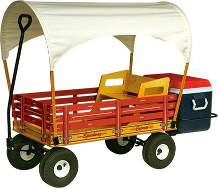 The ultimate family fun in the sun wagon. Amish kids wagon equipped with optional sun top, seat, and cooler rack. A variety of colors available.