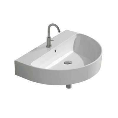 WS Bath Collections Normal Ceramic 28″ Wall Mount Bathroom Sink with Overflow