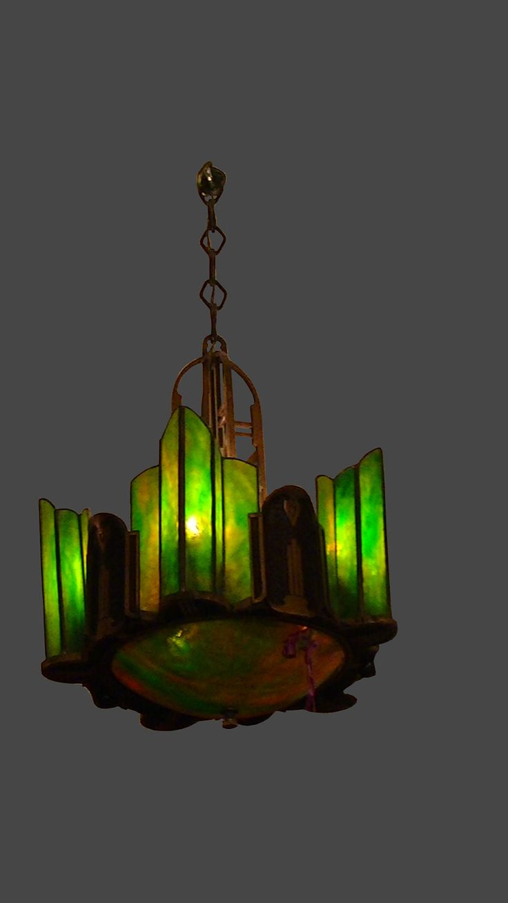 LOVE this. Art Deco Chandelier with Green & Caramel Stained Glass Slip Shades, ca 1920s. $895.00, via Etsy.