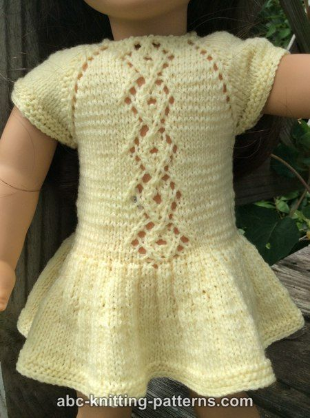 ABC Knitting Patterns - American Girl Doll Lace Cable Summer Dress