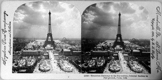 Trocadero Entrance to the Exposition, Colonial Section in Foreground, Paris Exposition, 1900, Library of Congress