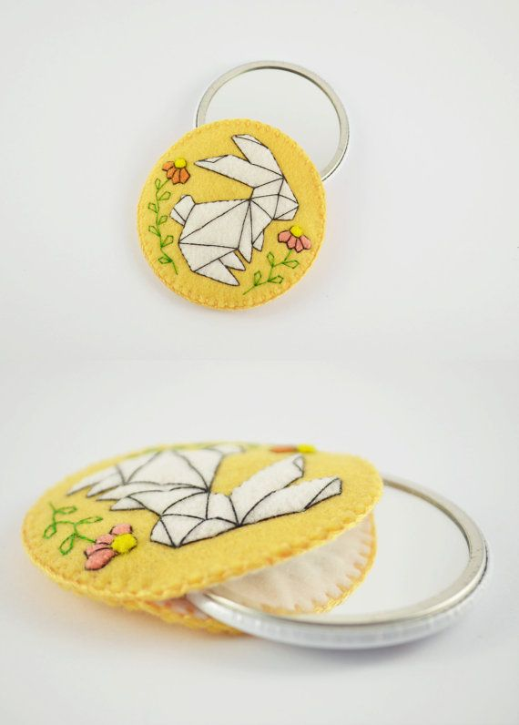 Origami Rabbit Wool Felt Pocket Mirror Case / 2.25 by mirrorette