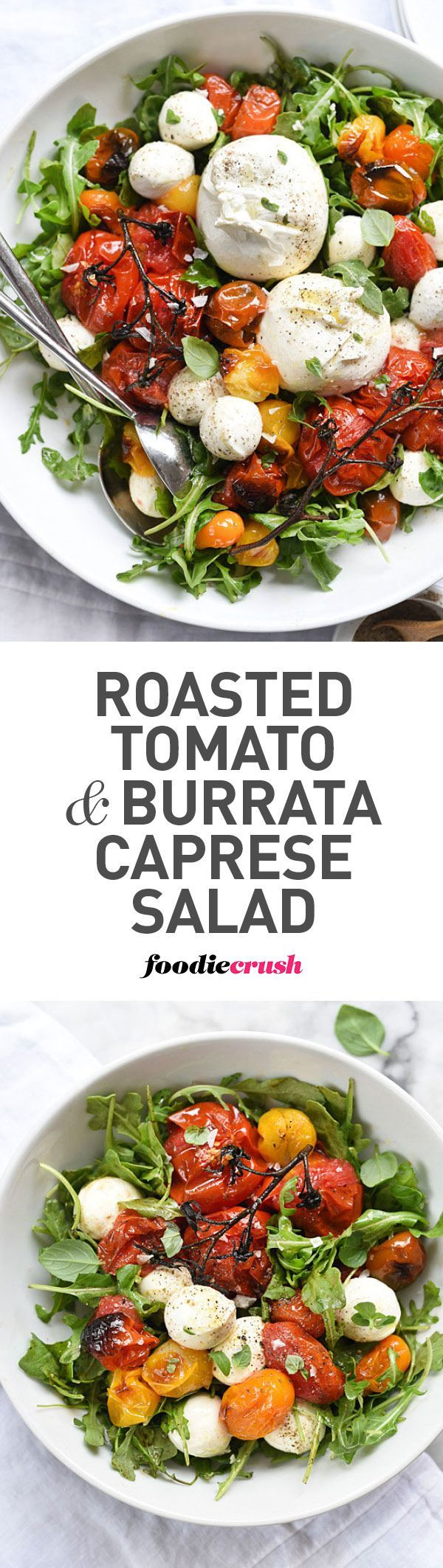 Roasted tomatoes make this caprese salad a favorite all year long | http://foodiecrush.com