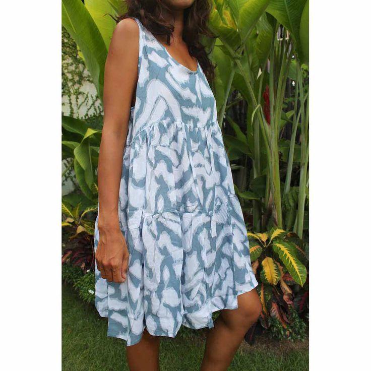 Dress Badut - Woman Summer printed rayon - Batu Blue Petrol Dress by CintaTomato on Etsy