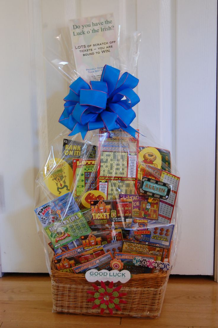 Lottery gift basket.  Probably spent $25 on lottery tickets - but how much fun is it to rub off and possibly WIN big!