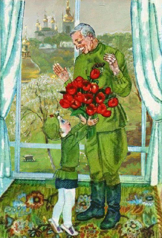 Солдат и ребенок открытка, марта рисованные