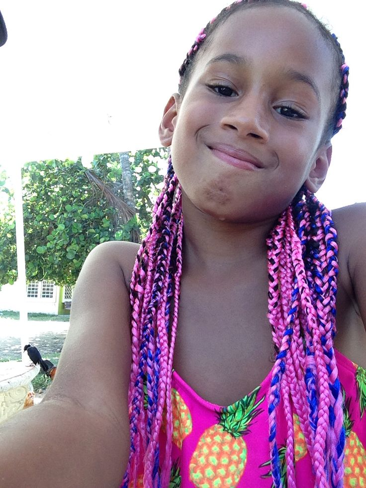 pink and blue mixed box braids