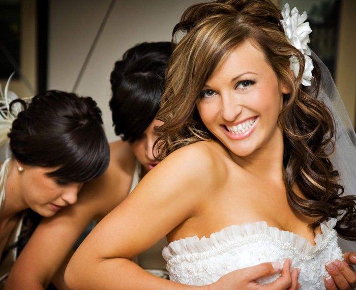 Half Up Half Down Wedding Hairstyle For Medium Length Hair