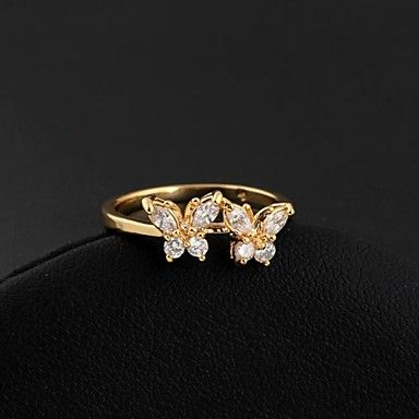 Women's Double Lovely Butterfly Design 18k Gold Plated  Ring – EUR € 4.79