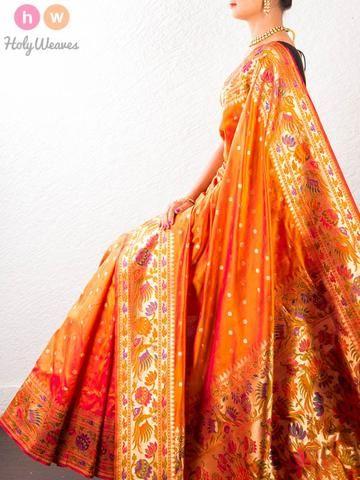 Orange Handwoven Katan Silk Paithani Saree - HolyWeaves - 1
