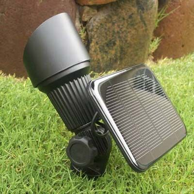 Solar powered Spotlights for key areas - we could get rid of the ugly light in the backyard and use one of these to light the deck.
